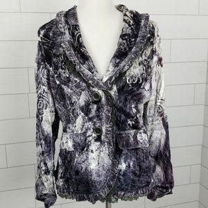 Alberto Makali Large Crushed Velvet Lace Jacket